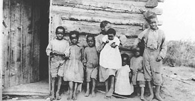 Black Children Outside Home Amber Valley Alberta 1911