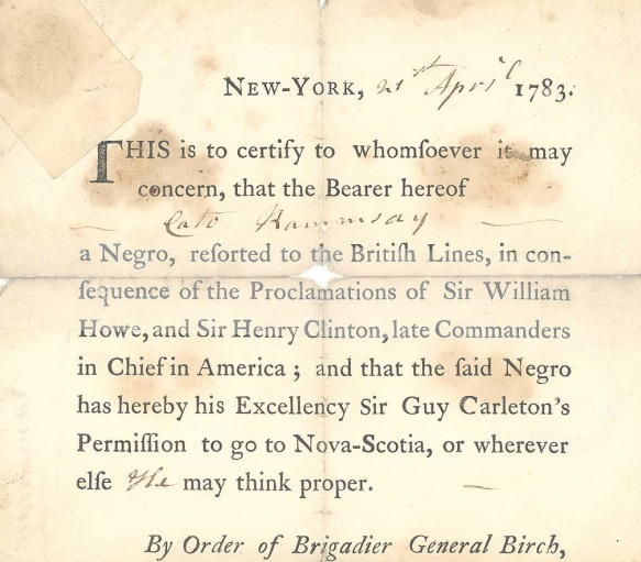 Pass Enabling Black Loyalist Cato Rammsay to Emigrate to Nova Scotia - 1783